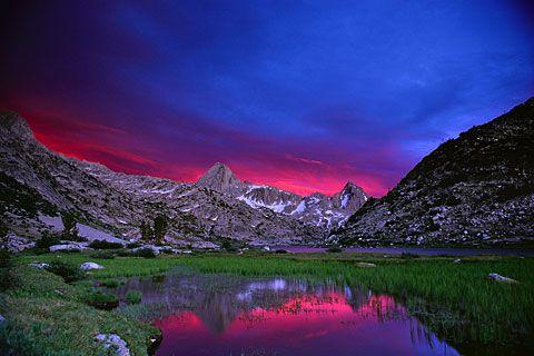 Stormy sunset over Evolution Lake, John Muir Trail, High Sierra (California, 1997). Photo by Galen Rowell.