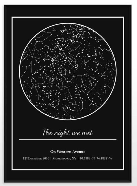 Star Map Night Sky Chart Wall Decor Gift For Girlfriend Etsy Sky Chart Girlfriend Gifts Star Map