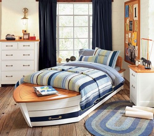How Cool Is This Nautical Theme Bedroom Love The Boat Bed Even Has Pull Out Drawers On The Bottom Kids Bed Design Teenage Room Designs Bed Design