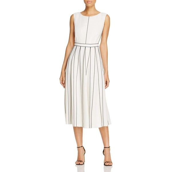 Lafayette 148 New York Mariposa Contrast-Piping Dress (1,350 BAM) ❤ liked on Polyvore featuring dresses, cloud, calf length dresses, midi dresses, white midi dress, mid calf dresses and white dress