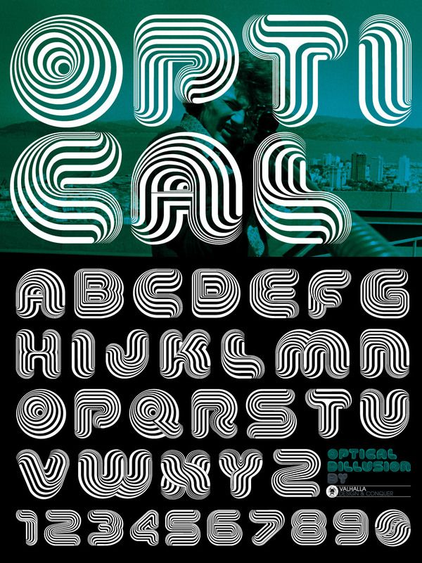 Optical Dillusion Font on Typography Served
