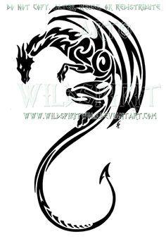 Vertical Tribal Dragon Design by WildSpiritWolf on DeviantArt
