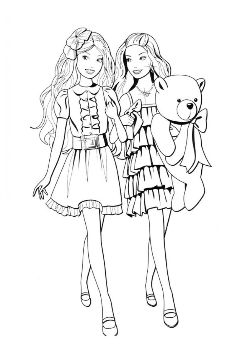 Girlfriend On The Walk High Quality Free Coloring From The Category Barbie More Printable Picture Barbie Coloring Pages Cute Coloring Pages Barbie Coloring