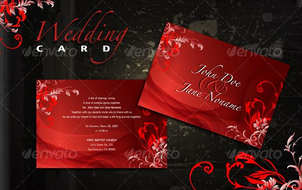 Red Wedding Card Red wedding, Template and Print templates - best of wedding invitation design download