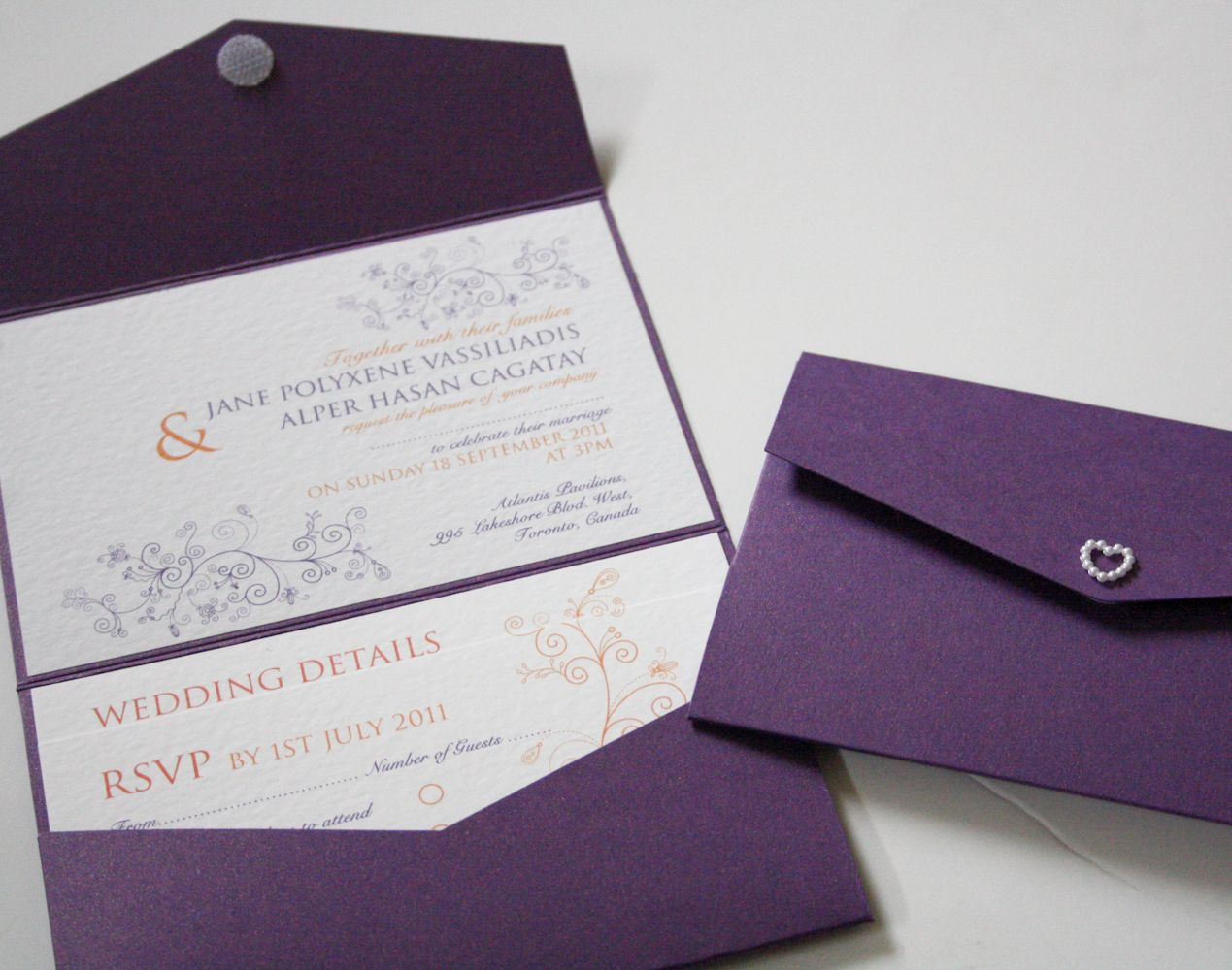 Cadburys Purple & Orange Pocketfold Wedding Invitation with Swirls ...