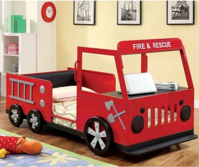 kinderzimmer einrichten wagen feuerwehr rotes auto bett ideen und