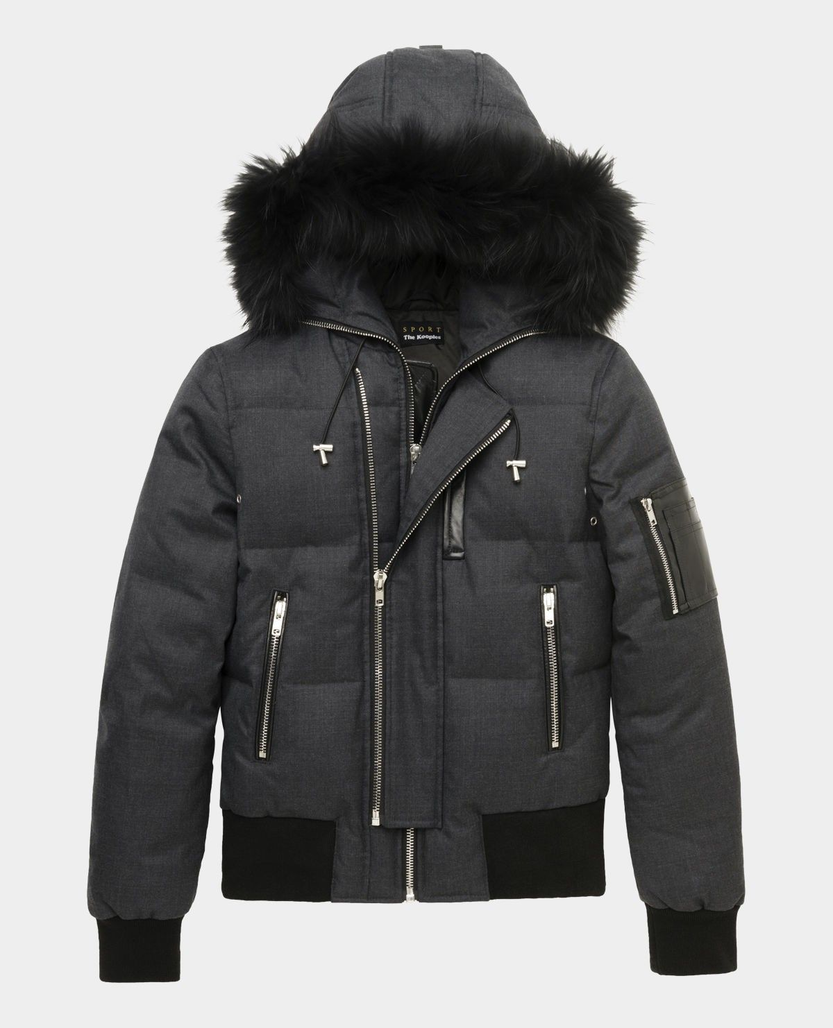 Short zipped down jacket with fur hood and leather pocket