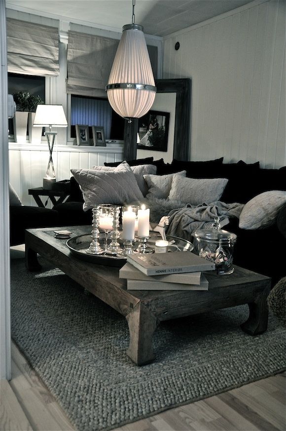 Grey black and white simple and stunning home in 2019 - Black accessories for living room ...