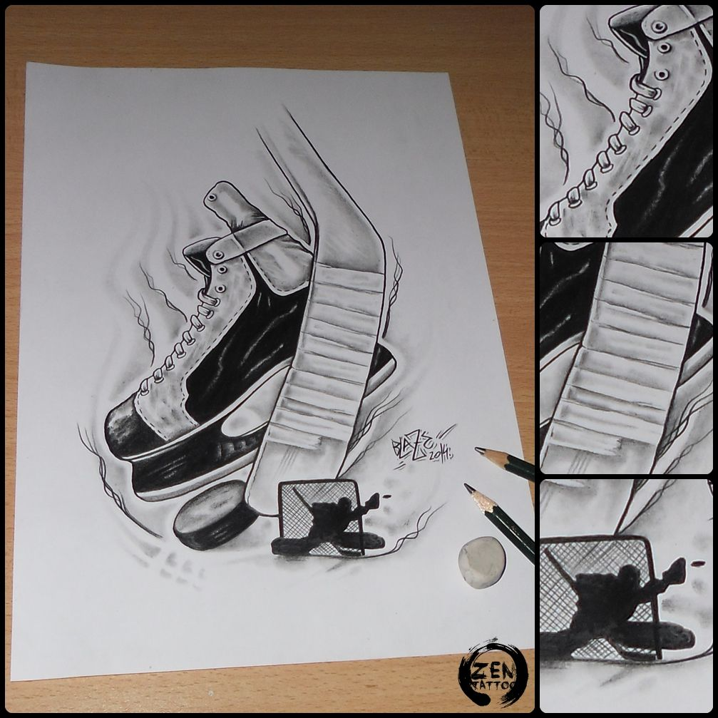 Ice Hockey Pencil Drawing By Blaze Www Facebook Com Zentattoozagreb Hockey Drawing Hockey Tattoo Pencil Drawings