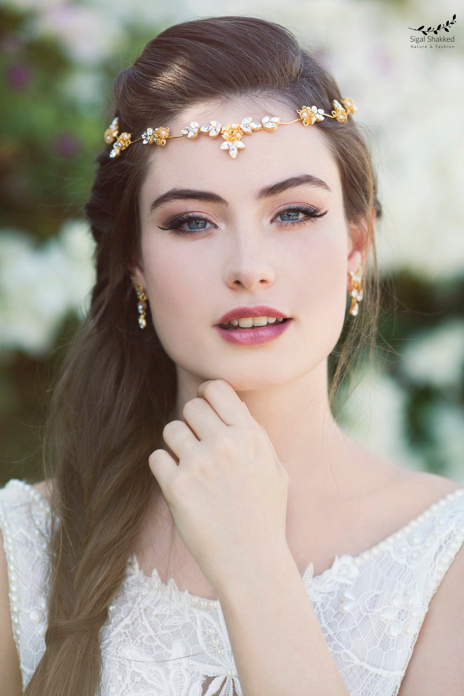 Wedding Tiara Bridal Forehead Band Wedding Hair Piece Etsy Wedding Makeup Bridal Headband Boho Wedding Makeup