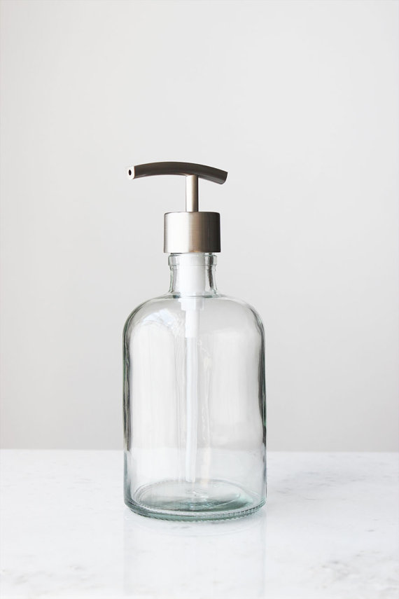Add A Bit Of French Rustic Style To Any Kitchen Or Bath With This Perfectly Sized Recycled Glass S Glass Soap Dispenser Foam Soap Dispenser Sink Soap Dispenser