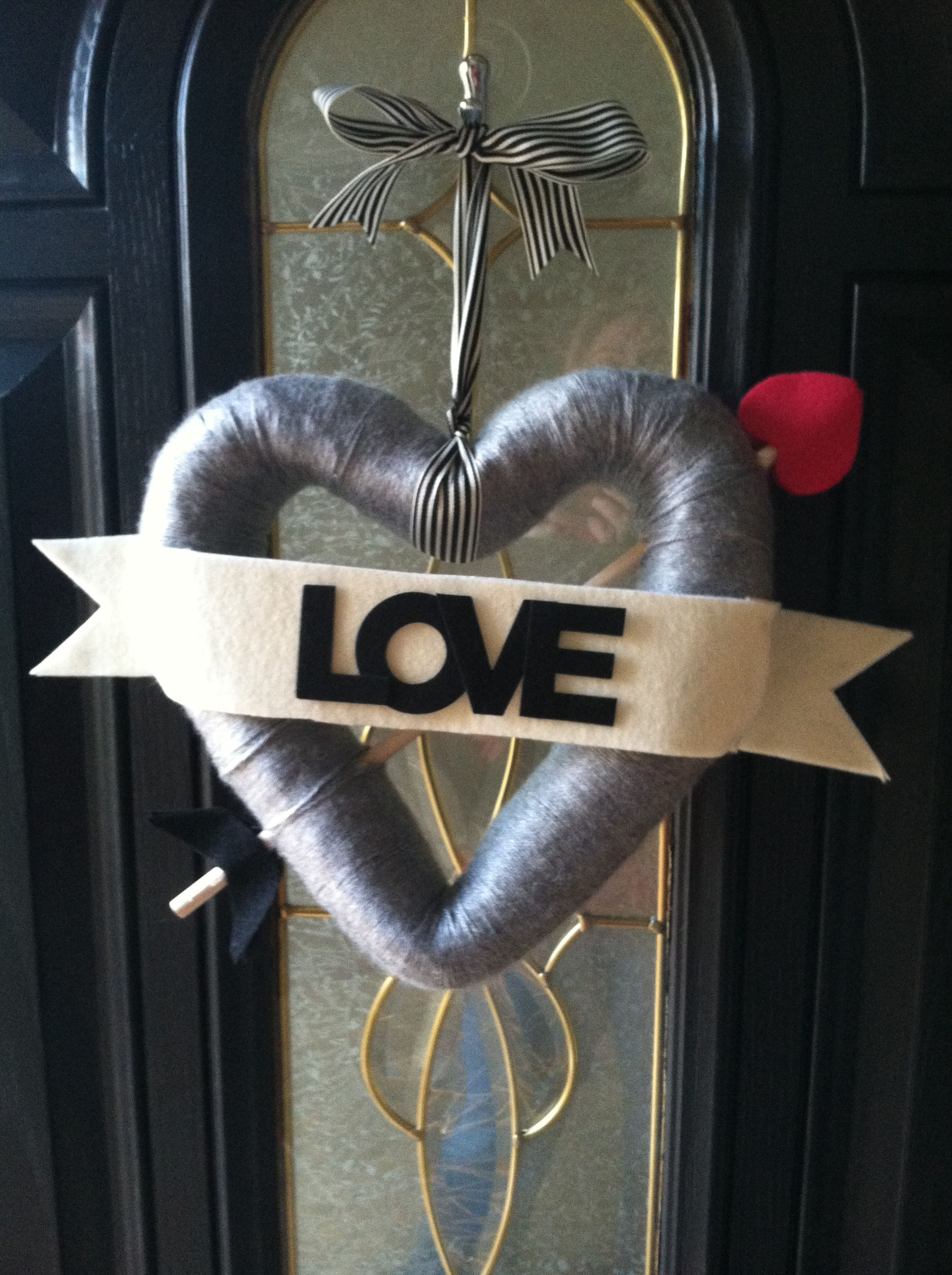 First wreath I made from Pinterest.  Valentine's Day wreath.