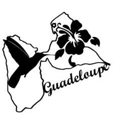 Sticker département de la guadeloupe colibri et hibiscus noir
