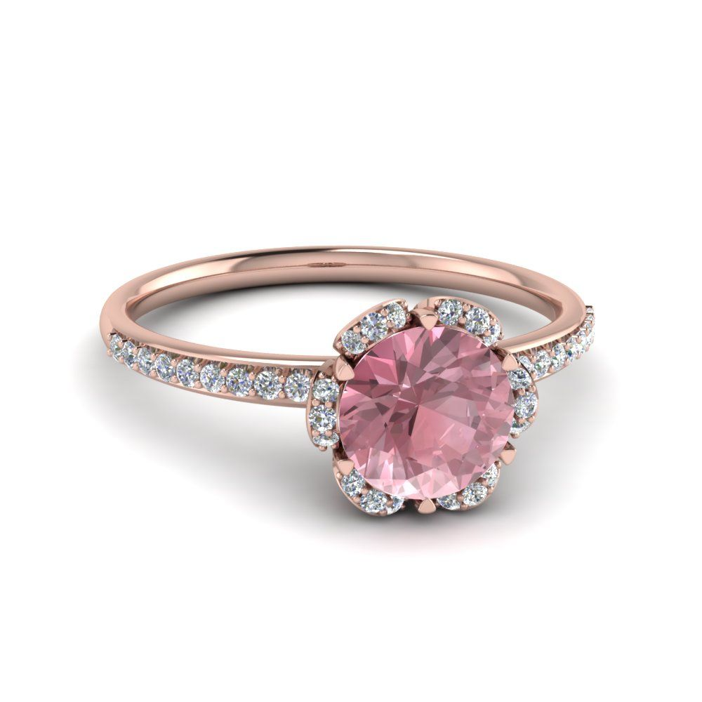 Captivating Floral Morganite Side Stone Ring Colored Engagement Rings With Pink  Morganite In 14K Rose Gold Exclusively Great Ideas