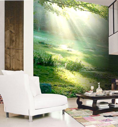 Mural adhesivo paisaje bosque campo decorar paredes - Decoracion para pared ...