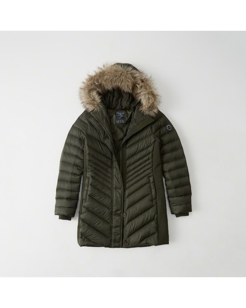 A&F Women's Puffer Meets Parka in Olive Green Size L