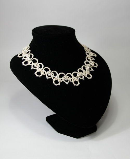 """Olga"": scheme wedding necklace and earrings (ankars, tatting)"