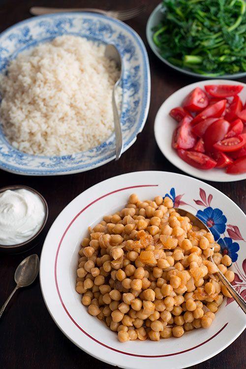 pois chiches à l'harissa et riz