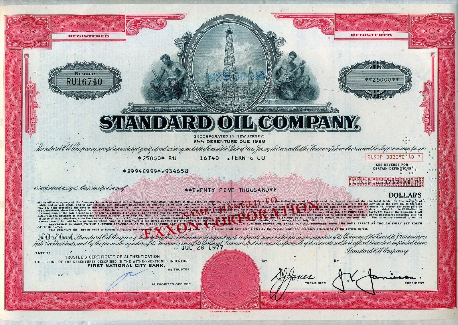 Standard Oil Company Bond Stock Certificate Exxon ...