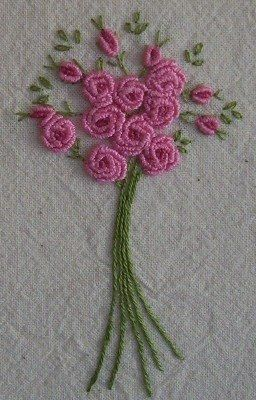 Some stitchers find bullion stitch and french knots difficult to master but it's typical of me to be able to do them quite easily. Ask me ...
