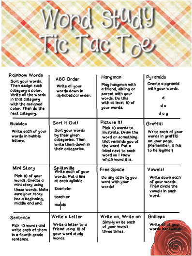 Fourth grade lemonade word study spelling tic tac toe for Tic tac toe menu template