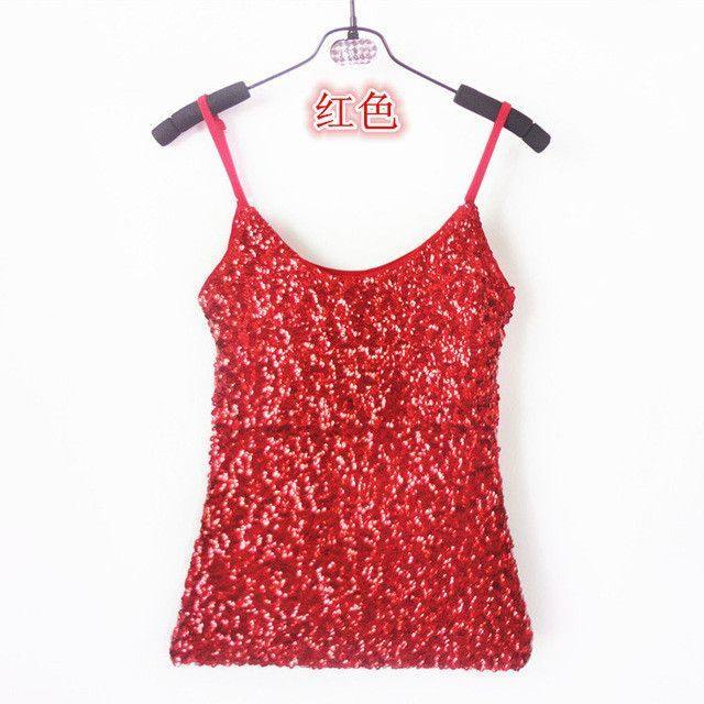 82edded7116 Summer Women Stage Clothing Bling Sequin Top Spaghetti Strap Night Club Tank  Top Sexy Simple Clubwear V-Neck Camis