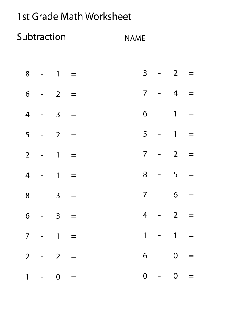 Printable 1st Grade Subtraction Worksheets   Learning Printable   1st grade  math worksheets [ 1035 x 800 Pixel ]