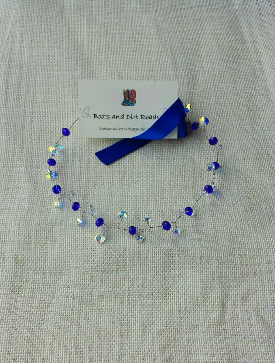 Crystal Sapphire Beaded Hair Wreath, Wire Crown, Wire Wreath, Bridal ...