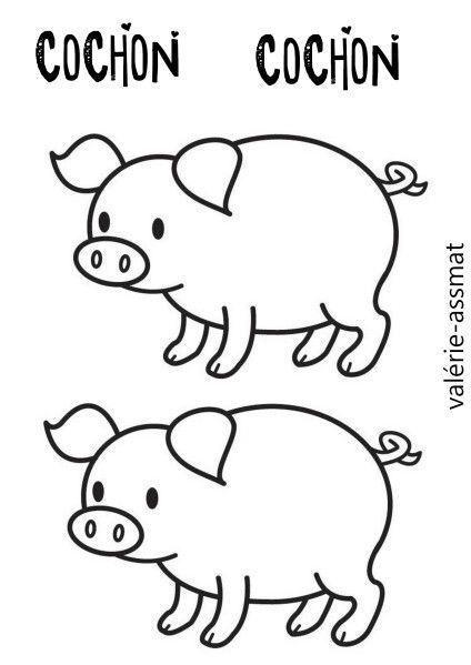 Coloriage Cochon Maternelle.Theme Animaux De La Ferme Gabarit Fictional Characters Et Snoopy