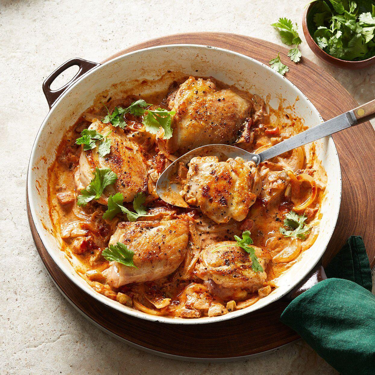 Creamy Chipotle Skillet Chicken Thighs Recipe Skillet Chicken Skillet Chicken Thighs Chicken Recipes
