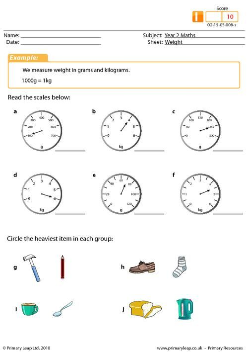Weight worksheet. This activity asks students to read the scales ...