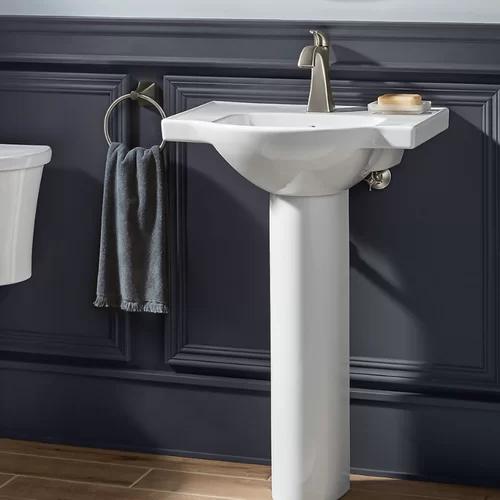 Veer Ceramic Pedestal Bathroom Sink With Overflow With Images