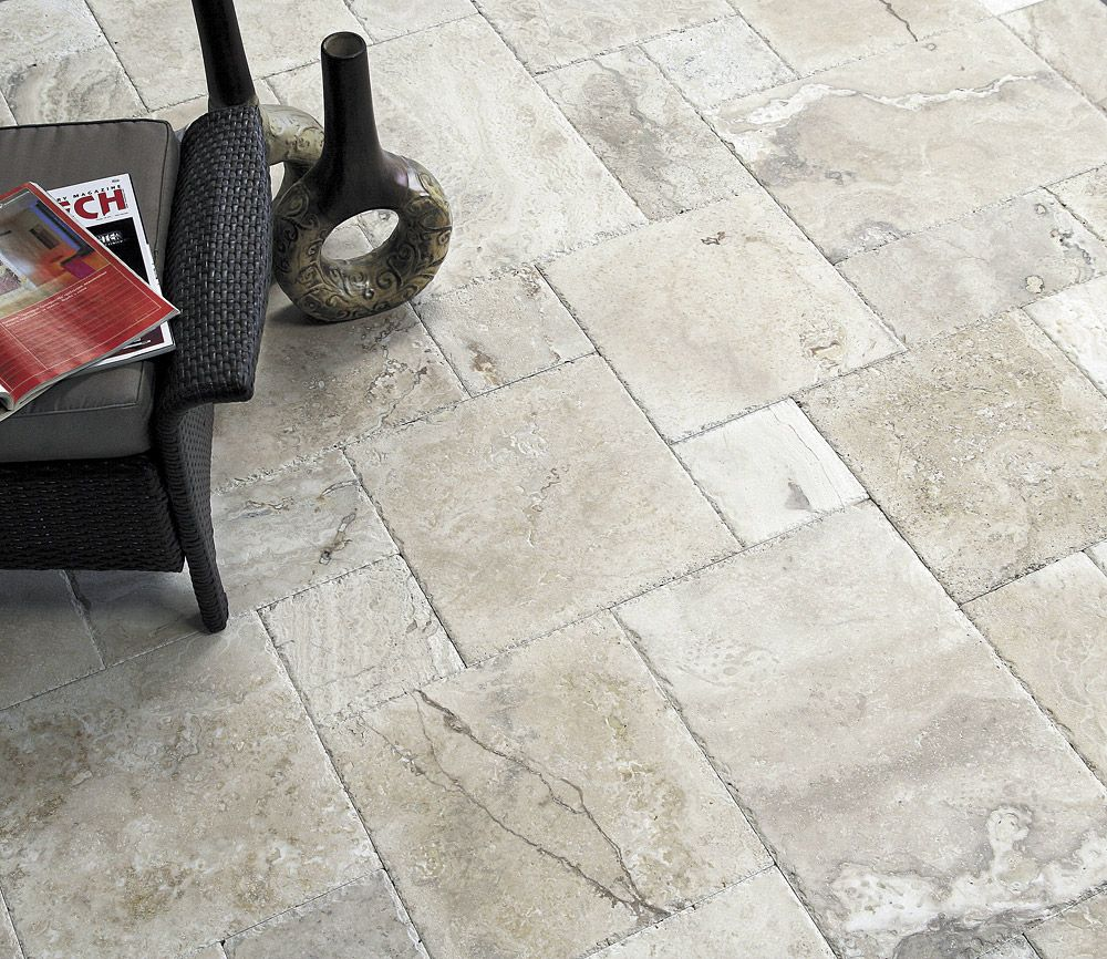 French pattern layouts for natural stone tile lend the for Exterior floor tiles