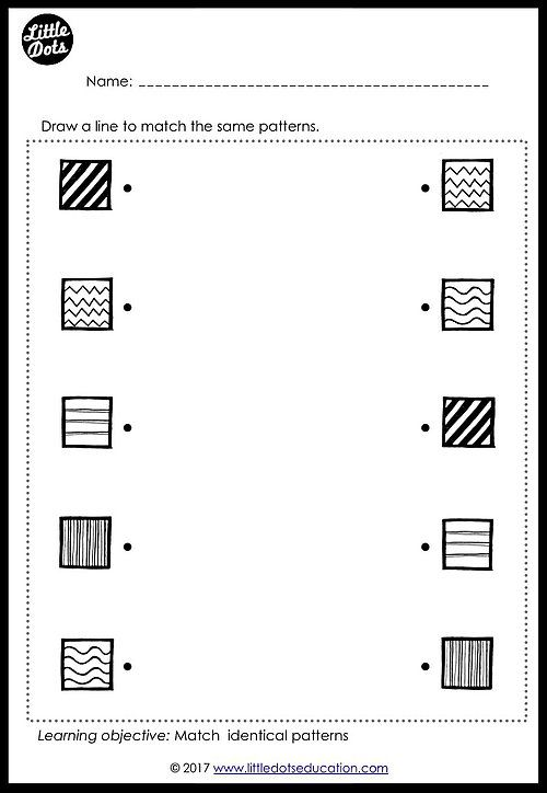 Free patterns matching worksheet for prek or kindergarten