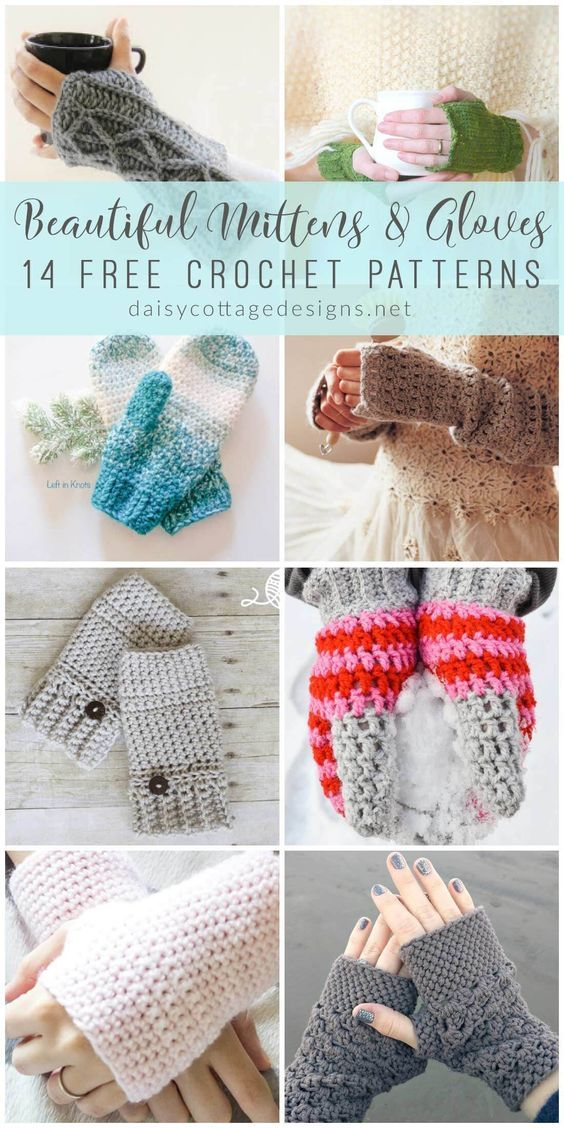 Crochet Fingerless Gloves & Mitten Crochet Patterns | Fingerless ...