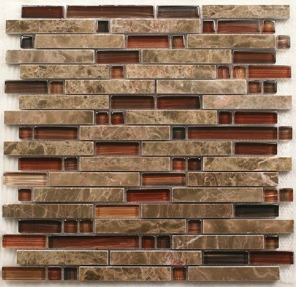Interlocking Stone Mosaic Tiles Glass Mosaic Kitchen Backsplash