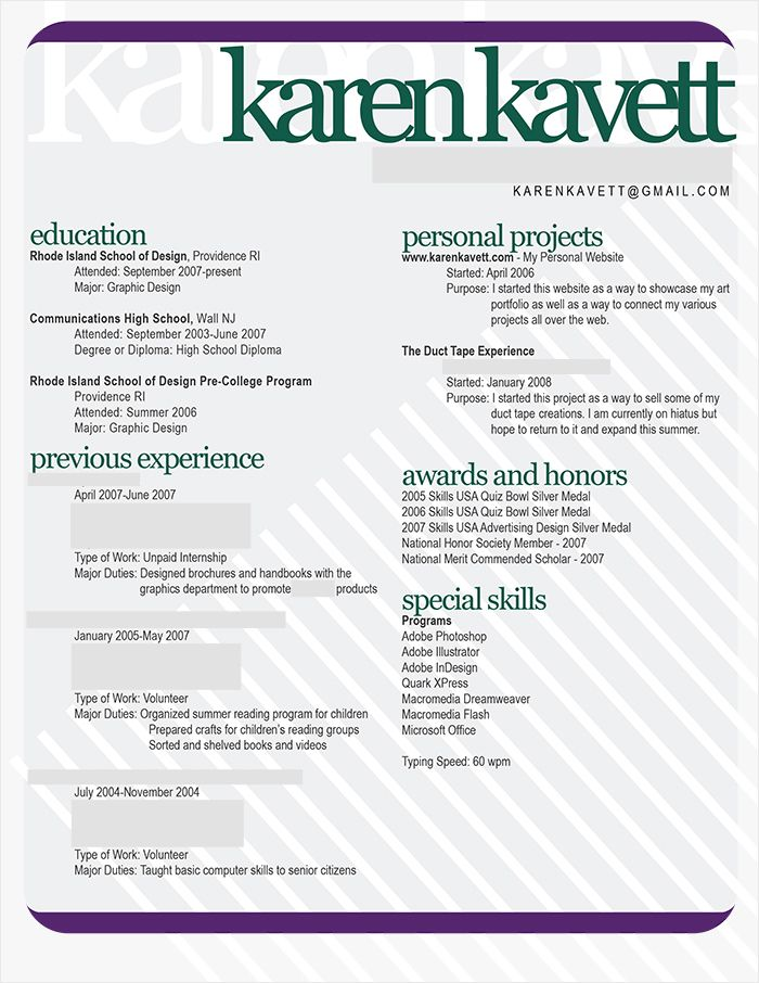 How To Design A Resume  Karen Kavett  Random Things