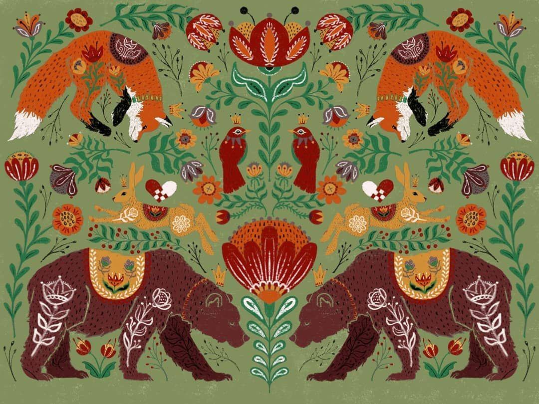 Scandinavian Design By Carrie Ellen Art Studio Scandinaviandesign Scandinavian Illustration Folk Art Painting Bear Wall Art Scandinavian Folk Art