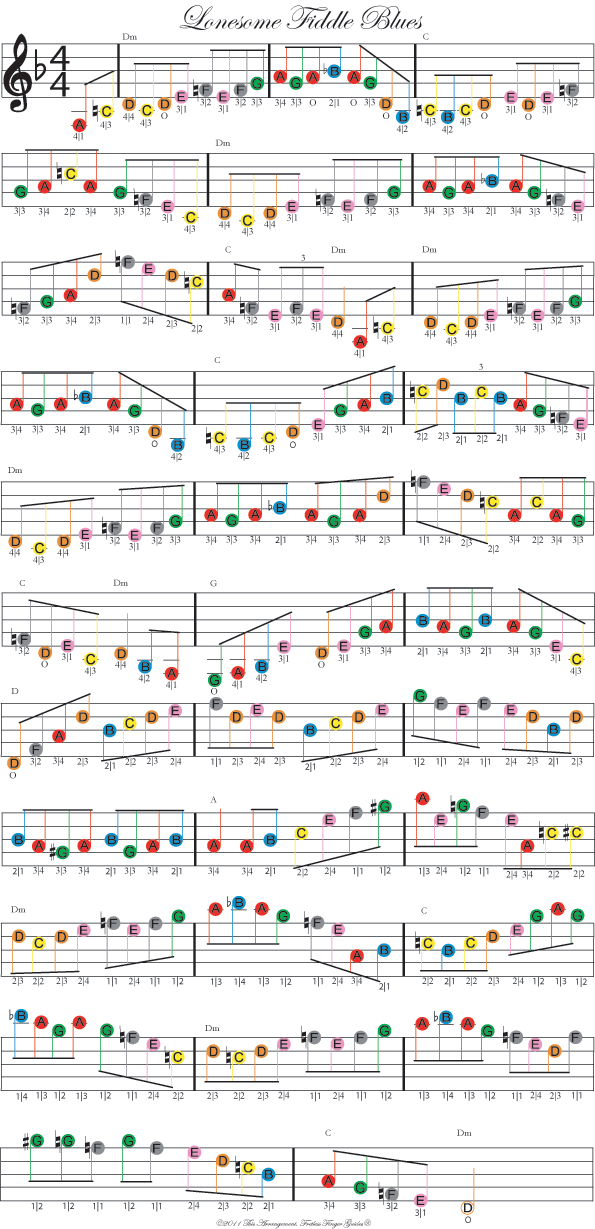 color coded free violin sheet music for lonesome fiddle