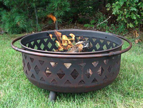 Amazon Com Sunnydaze Large Bronze Crossweave Fire Pit 36 Inch Diameter Patio Lawn Garden Wrought Iron Fire Pit Iron Fire Pit Fire Pit Bowl