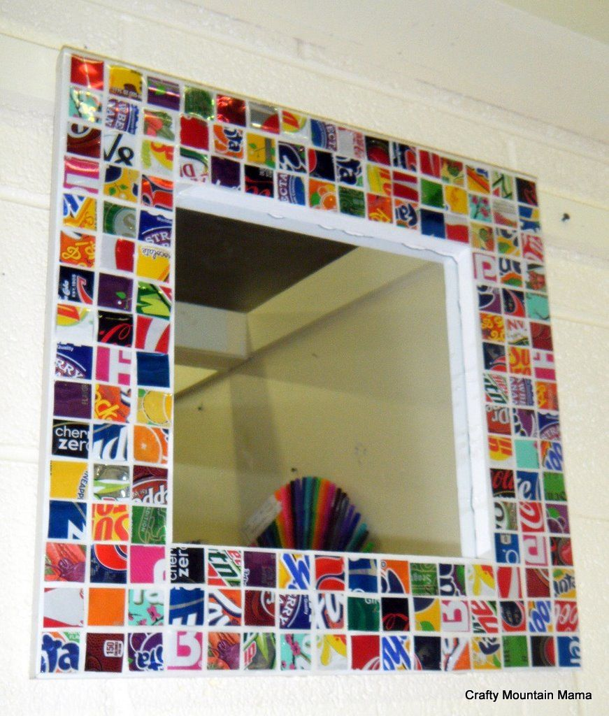 Fabulous Recycled Soda Can Mirror, Handmade Frame, 12\