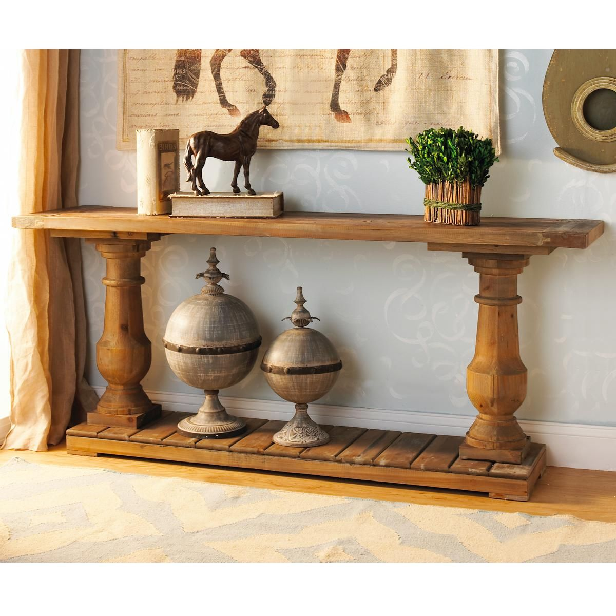 Wood turned baluster console table and check out those globes grey wash wood turned baluster console table geotapseo Choice Image