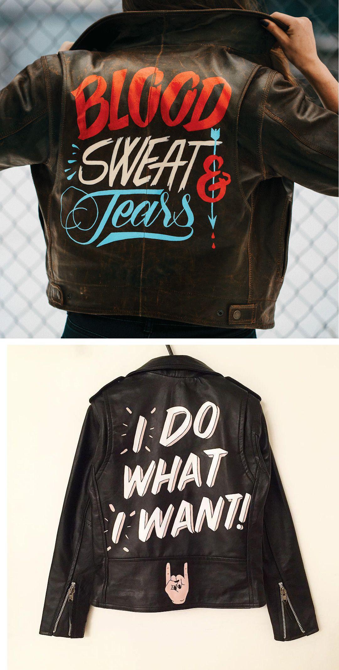 004b53f6 Painted leather jackets | hand painted jacket | illustration on jacket |  hand lettered fashion