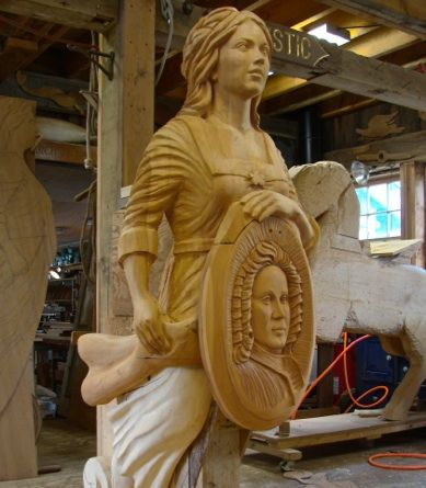 This figurehead was made in 2012 for The Eleanor, a refitted tall ship now permanently docked at The Boston Tea Party Museum in downtown Boston Harbor.