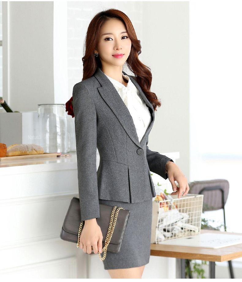 b6968e432ca0 Profesional del otoño traje de negocios para mujer más tamaño falda ...