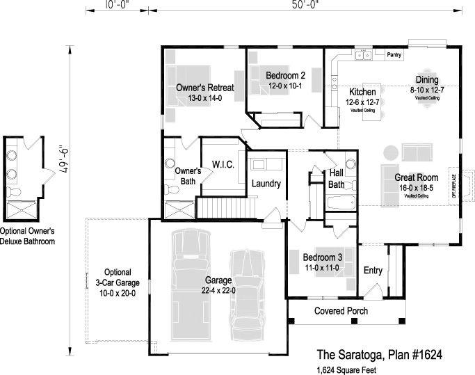 The Saratoga Plan 1624 1 624 Sq Ft 3 Bedroom 2 Bath Floor Plans Ranch Floor Plans House Plans