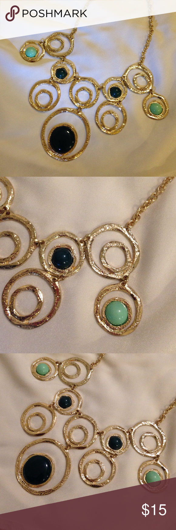 Beautiful necklace Mint and green stones with gold necklace Jewelry Necklaces