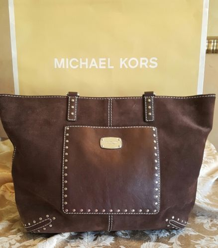 dafadacf4eb86a Michael Kors Astor Tote Laptop Suede Leather Coffee Large Studded Hand