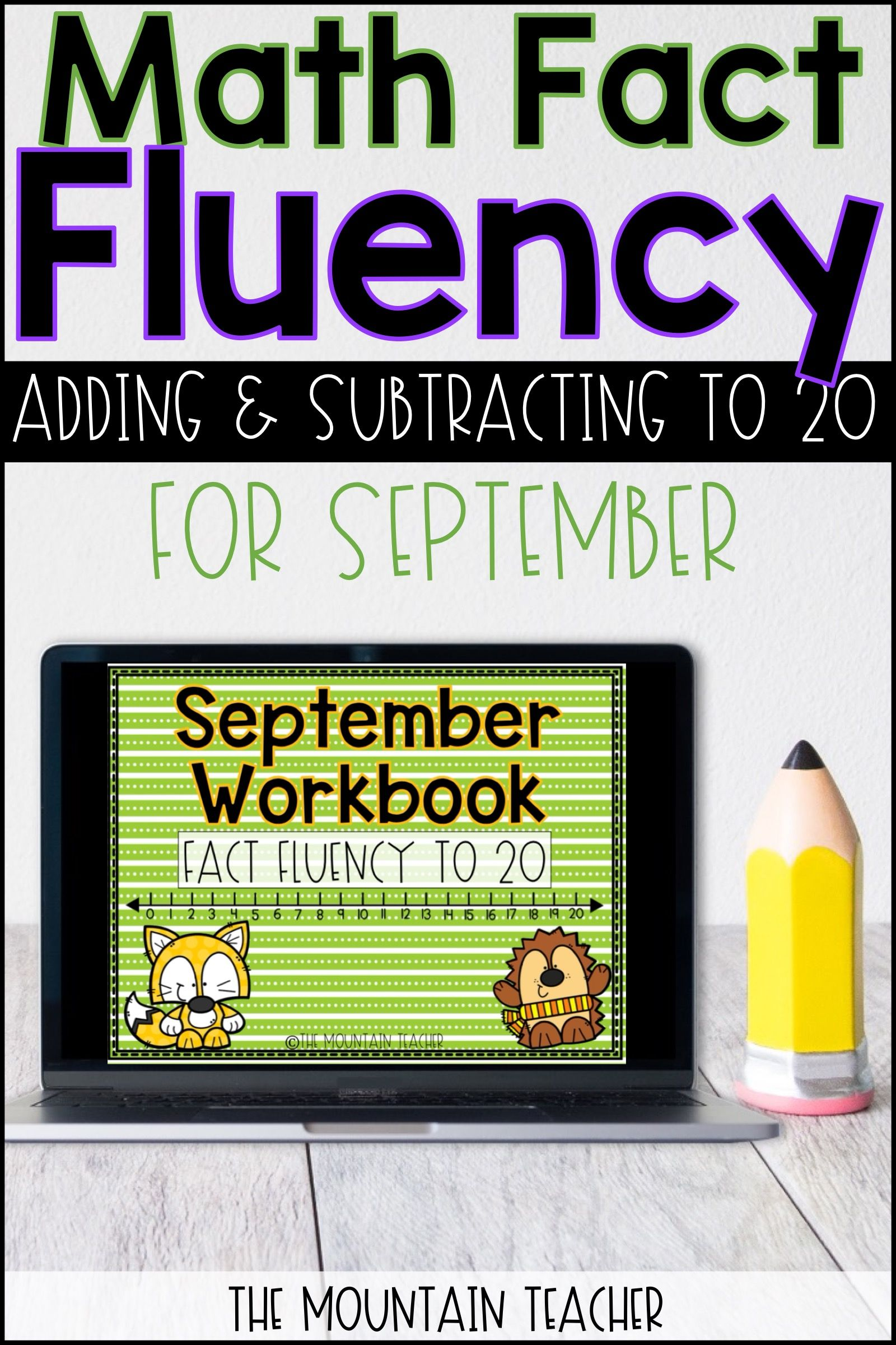No Prep September Fact Fluency To 20 Math Worksheets Printable And Google Slides Math Facts Math Fact Fluency Fact Fluency
