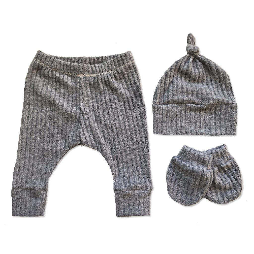 Essential Newborn Snuggle Set | Heather Grey Rib